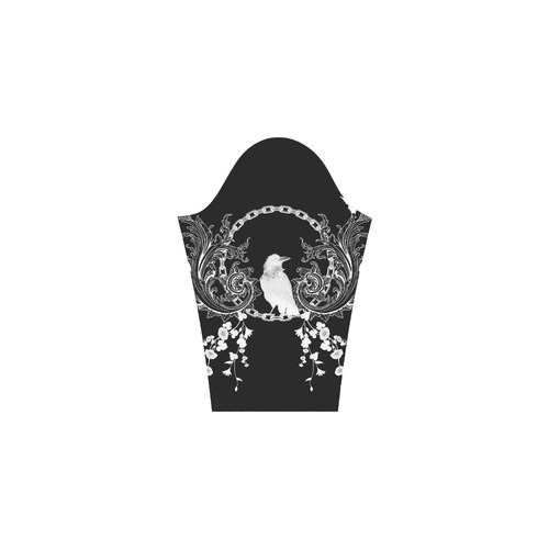 White crow with flowers Bateau A-Line Skirt (D21)