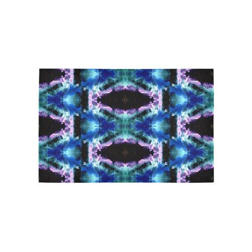 Blue, Light Blue, Metallic Diamond Pattern Area Rug 5'x3'3''
