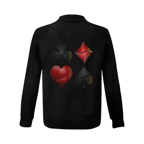Black and Red Casino Poker Card Shapes Women's Baseball Jacket (Model H12)