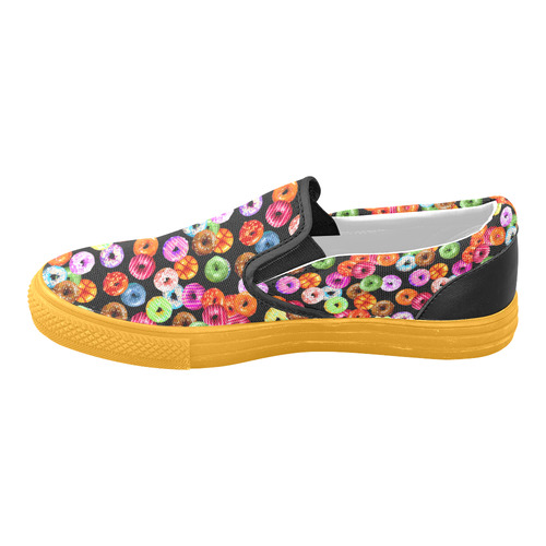 Colorful Yummy DONUTS pattern Slip-on Canvas Shoes for Men/Large Size (Model 019)