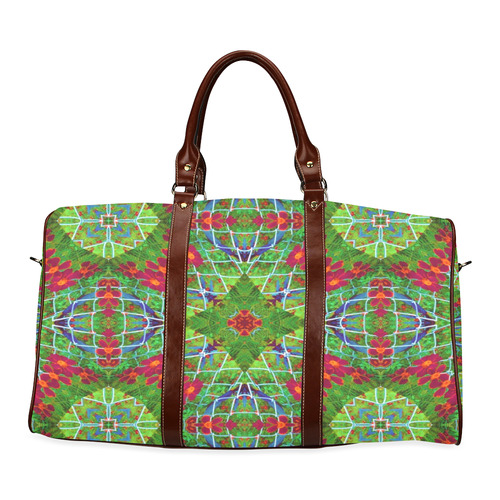 Red and Green Geometric Design #2204 weekend bag Waterproof Travel Bag/Small (Model 1639)