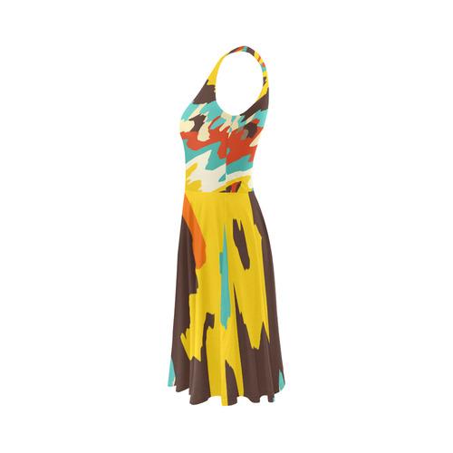 Wavy retro  texture Sleeveless Ice Skater Dress (D19)