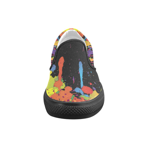 Crazy multicolored running SPLASHES Slip-on Canvas Shoes for Men/Large Size (Model 019)