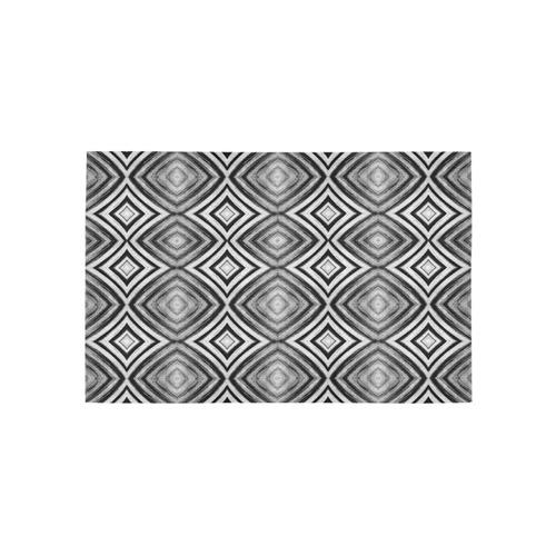 black and white diamond pattern Area Rug 5'x3'3''