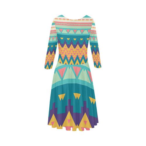 Pastel tribal design Elbow Sleeve Ice Skater Dress (D20)