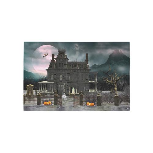 A creepy darkness halloween haunted house Area Rug 5'x3'3''