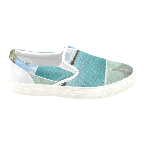 Caribbean Collage Slip-on Canvas Shoes for Men/Large Size (Model 019)
