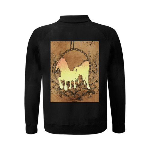 Beautiful horse silhouette in yellow colors Men's Baseball jacket (Model H12)
