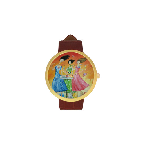 Wine Oclock Women's Golden Leather Strap Watch(Model 212)
