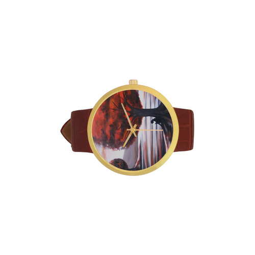 Alone Time Women's Golden Leather Strap Watch(Model 212)