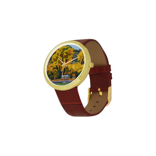 Arrowtown Gold Women's Golden Leather Strap Watch(Model 212)
