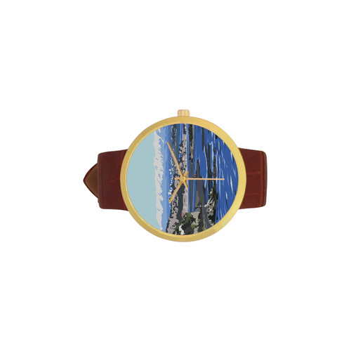 CHCH City Women's Golden Leather Strap Watch(Model 212)