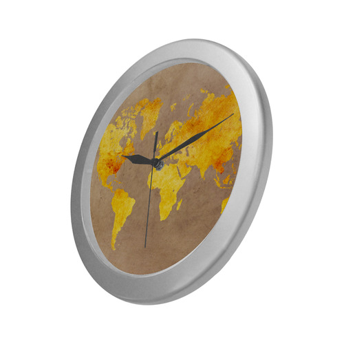 world map 23 Silver Color Wall Clock