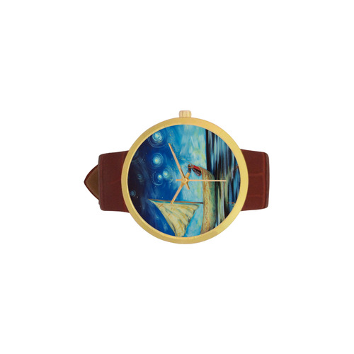 Sprinkling stars at Matariki Women's Golden Leather Strap Watch(Model 212)