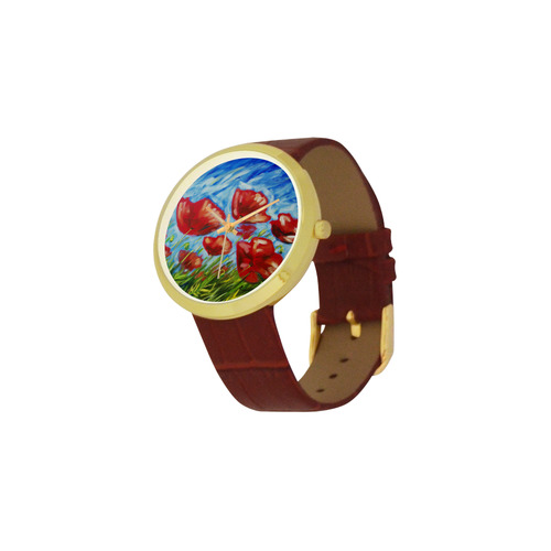 Summer Poppies Women's Golden Leather Strap Watch(Model 212)