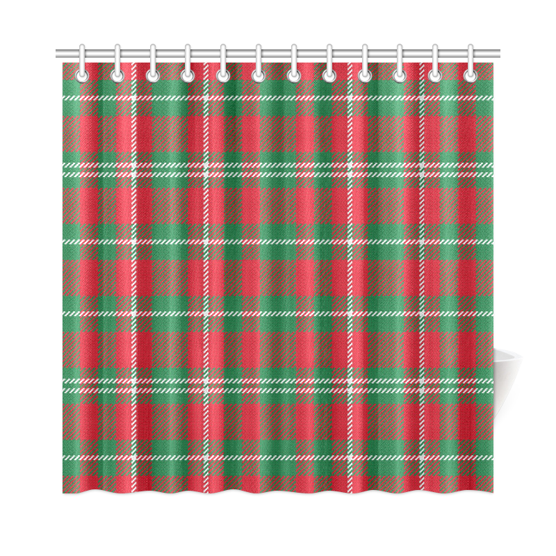 Red White And Green Plaid Shower Curtain 72x72