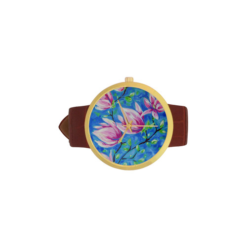 Magnolias Women's Golden Leather Strap Watch(Model 212)