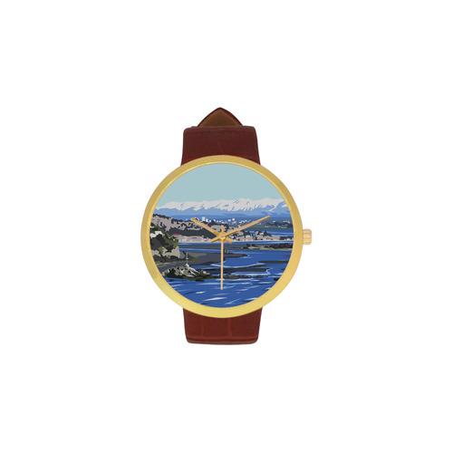 CHCH City Women's Golden Leather Strap Watch(Model 212)