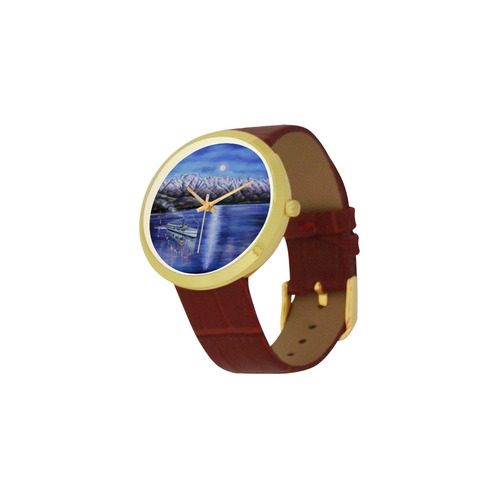 Queenstown moonlight Women's Golden Leather Strap Watch(Model 212)