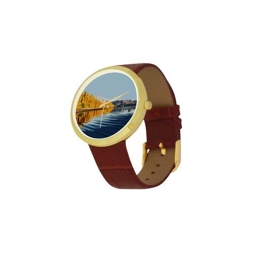 Lake Wanaka Women's Golden Leather Strap Watch(Model 212)