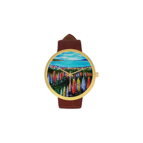 Lake Tekapo Lupins Women's Golden Leather Strap Watch(Model 212)