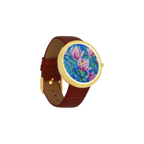 Magnolias Women's Golden Leather Strap Watch(Model 212)