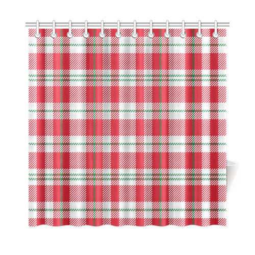 Red White And Green Xmas Christmas Plaid Shower Curtain