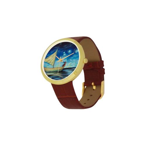 Sprinkling stars at Matariki Women's Golden Leather Strap Watch(Model 212)