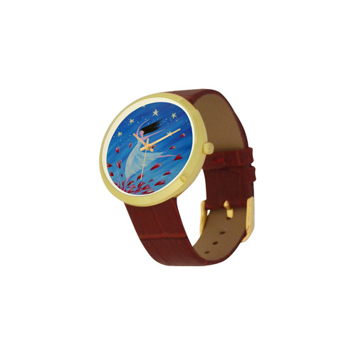 dance of joy Women's Golden Leather Strap Watch(Model 212)