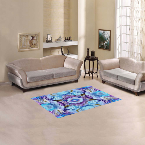 "Elegant Turquoise Blue Flower Pattern Area Rug 2'7""x 1'8''"
