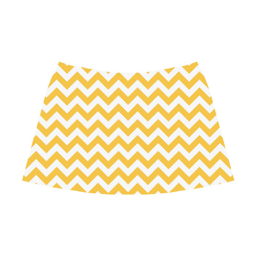 Sunny Yellow zigzag chevron pattern Mnemosyne Women's Crepe Skirt (Model D16)