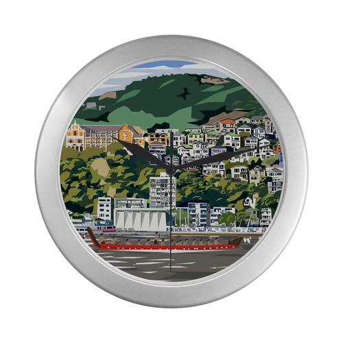 Wellington Harbour Silver Color Wall Clock