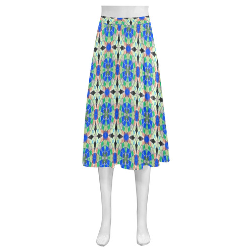 Blue Green and Peach Mnemosyne Women's Crepe Skirt (Model D16)