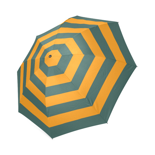Mustard Yellow & Bottle Green Foldable Umbrella