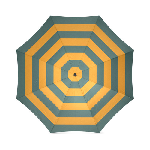 Mustard Yellow & Bottle Green Foldable Umbrella