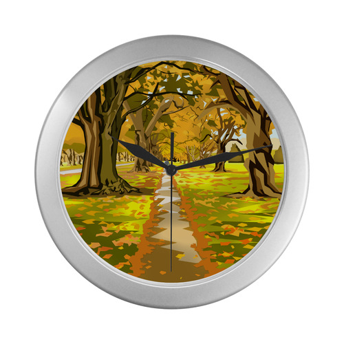 Golden Avenue Silver Color Wall Clock