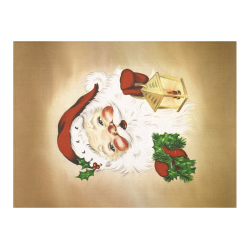 "A cute Santa Claus with a mistletoe and a latern Cotton Linen Tablecloth 52""x 70"""