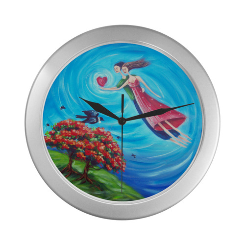 Love is in the air Silver Color Wall Clock
