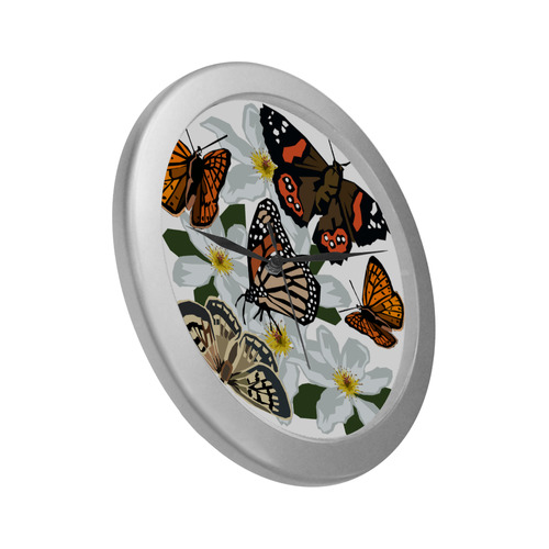 NZ Butterflies Silver Color Wall Clock