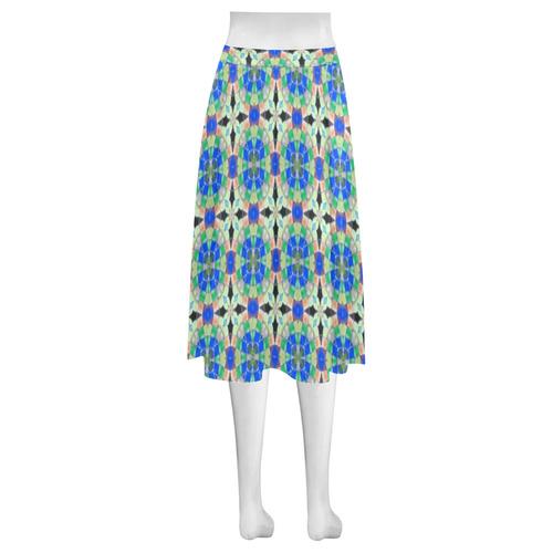 Blue Green and Peach Mnemosyne Women's Crepe Skirt (Model D16)