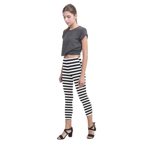 Black and White Stripes Capri Legging (Model L02)