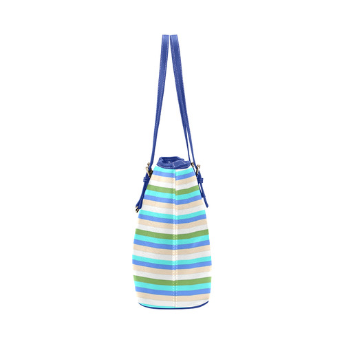 beach color stripes of Sint Maarten Leather Tote Bag/Small (Model 1651)