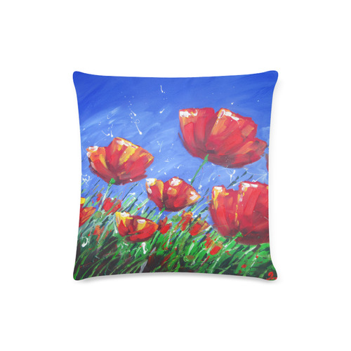 "Summer Red Poppies Custom Zippered Pillow Case 16""x16""(Twin Sides)"