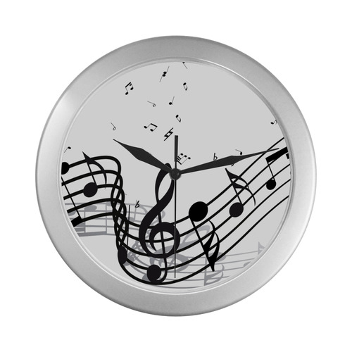 Music Silver Color Wall Clock