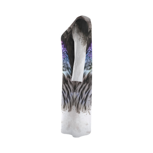 Abstract colorful owl Round Collar Dress (D22)