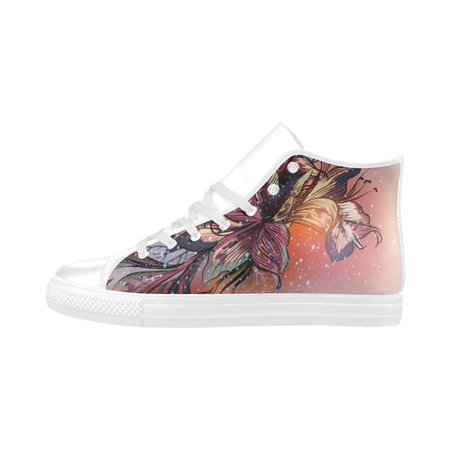 NEW! Designers artistic Shoes with Lily hand-drawn Art. New arrival in our Shop. Fashion 2016! Aquila High Top Microfiber Leather Women's Shoes (Model 032)