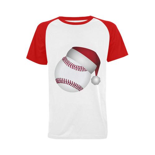 santa hat baseball christmas mens raglan t shirt big size usa size - Baseball Christmas