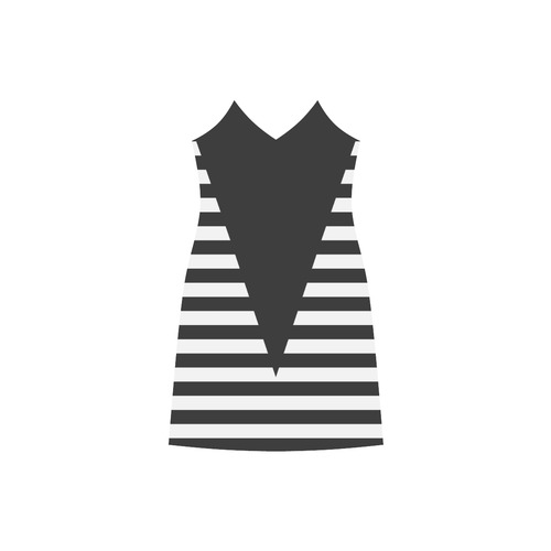 Geometric Style Black solid Stripes Big Triangle V-Neck Open Fork Long Dress(Model D18)