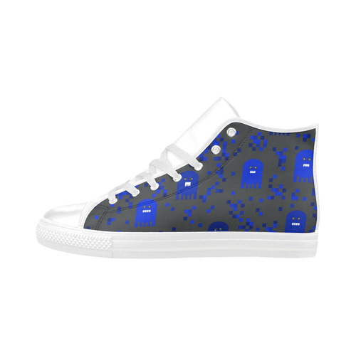 Blue Video Game Aquila High Top Microfiber Leather Women's Shoes/Large Size (Model 032)