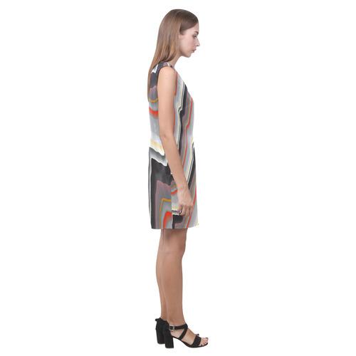 Red Black Gold Fractal Abstract Cascade Phoebe Sleeveless V-Neck Dress (Model D09)